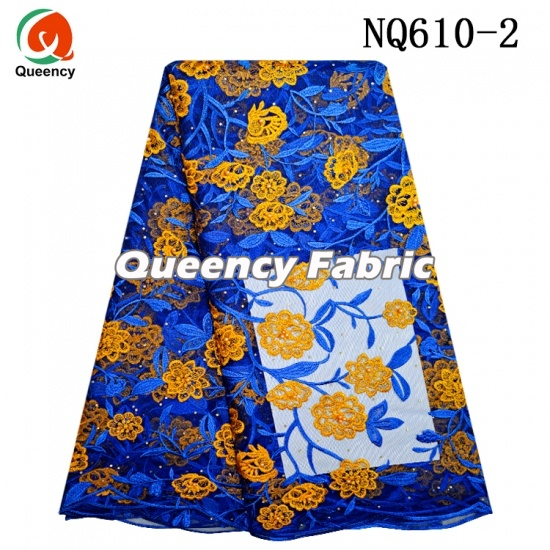 African Net Lace Embroidery Beaded Fabric