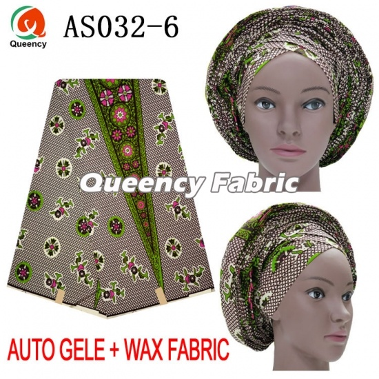African Ankara Auto Gele Matching Wax Fabric Set